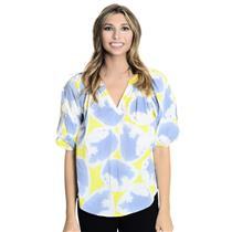 4 Diane Von Furstenberg Kioni Blue/Yellow/White Pleated Sleeve V-Neck Cotton Top