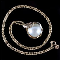 "14k Yellow Gold Round Cabochon Cut Cultured Mabe Pearl Pendant W/ 18"" Chain"