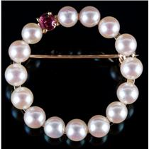 14k Yellow Gold Round Cut Cultured Pearl & Ruby Circle Pin .10ct
