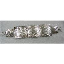 STERLING SILVER RETRO MEXICO HAMMERED SQUARE LINK 7 INCH BRACELET N580-B