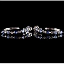 14k White Gold Round Cut Tanzanite & Diamond Hoop Earrings 1.0ctw