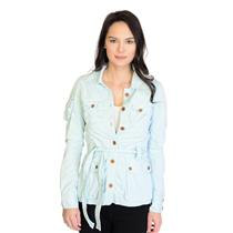 """NWT! AG Adriano Goldschmied Teal """"The Element"""" Cotton Button Front Belted Jacket"""