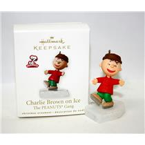 Hallmark Miniature Ornament 2010 Charlie Brown on Ice - Peanuts Gang - #QRP4746