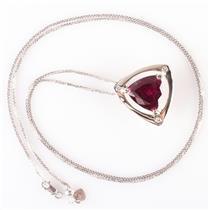 14k White Gold Rubelite Tourmaline & Diamond Pendant W/ Adjustable Chain 9.09ctw