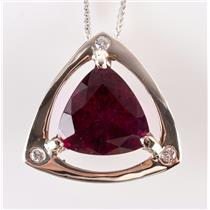 14k White Gold Rubelite Tourmaline & Diamond Pendant W/ Adjustable Chain 9.09ctw