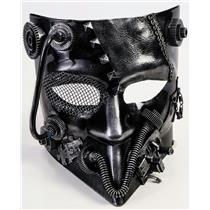 Adult Steampunk Industrial Robot Venetian Jester Silver Half Face Costume Mask