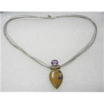 STERLING SILVER ATLANTISITE AMETHYST NECKLACE PENDANT 18 INCH MULTI CORD N421-N