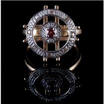 14k Yellow / White Gold Tourmaline & Cognac Diamond Circular Ring .24ctw