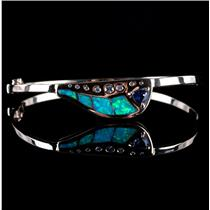 14k Yellow Gold Inlay Opal / Tanzanite / Diamond Hinged Bangle Bracelet 1.38ctw