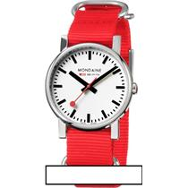 Mondaine Swiss Railways Watch A658.30300.11SNC. Evo Red Nylon 18mm Strap
