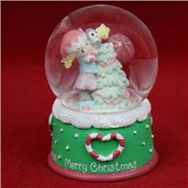 Precious Moments Mini Water Ball and Figurine Girl with Christmas Tree - 6115518