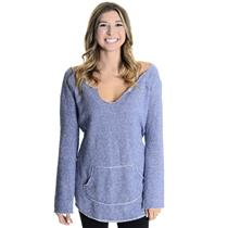 M Victoria's Secret Heather Blue Raw Edg/Distressed  Pullover Raglan Sweatshirt
