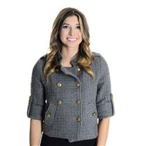 S Aryn K Anthropologie Gray Crop Pea Coat Chunky Knit Shrug Jacket Gold Buttons