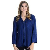 S Bella Dahl Shirt Tail Indigo Everglade Blue Tencel Button Down Top B2646-549