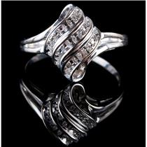 10k White Gold Round Cut Diamond Cluster Cocktail Ring .22ctw