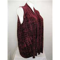 Susan Graver Size 1X Sleeveless Burnout Design Cascading Open Front Vest - Wine