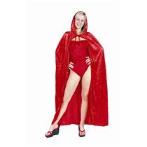 "56"" Full Length Red Velvet Hooded Cape Costume Accessory Devil Riding Hood"