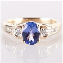 14k Yellow Gold Oval Cut AA Tanzanite Solitaire Ring W/ Diamond Accents 1.61ctw
