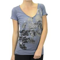L NWT Monarchy Skull Stack Top Supima Cotton Blue Gray Deep V Silver Foil Print