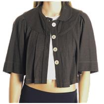 M Ella Moss Chocolate Brown Crop Pleated Stretch Jersey Collared Swing Jacket