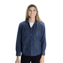 6P J. Crew Petite Blue Keeper Chambray Long Sleeve Collared Shirt In Star Dot
