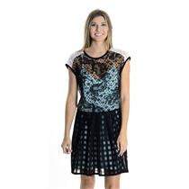 6 Nanette Lepore Black Lace Overlay Short Sleeve Mini Dress w/ Teal Silk Lining