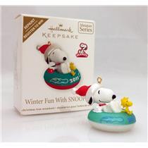Hallmark Repaint Miniature Ornament 2011 Winter Fun With Snoopy #14 - #QXM9117C