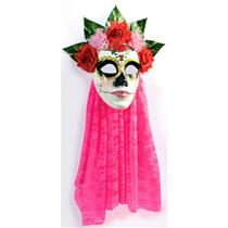 Day Of The Dead Senora Rose Pink Lace Mask with Flowers and Veil
