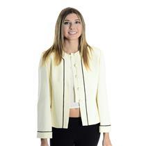 NWT 2P Ann Taylor Petites 100% Silk Ivory Button Front Jacket w/ Black Trim