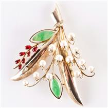 Vintage 1930's 14k Yellow Gold Jade / Pearl / Ruby / Diamond Brooch .39ctw