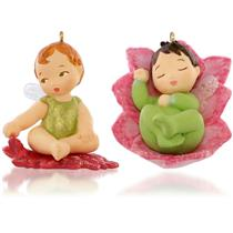 Hallmark Mini Ornament 2015 Baby Fairy Messengers #1 Lotus and Poinsetta QHG1207
