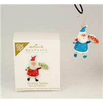 Hallmark Local Club Miniature Repaint Ornament 2011 Festive Santa #3 - #QXC9127