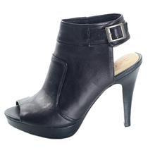 New 6.5 Nanette Lepore Manhunter Black Leather Peep Toe Stiletto Heels Bootie