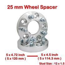 2 pcs 25mm 5 Studs 12 x 1.5 PCD 5 x 120 to 5 x 114.3 mm Wheel Spacer Spacers