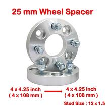 2 pcs 25mm 4 Studs 12 x 1.5 PCD 4 x 108 to 4 x 108 mm Wheel Spacer Spacers