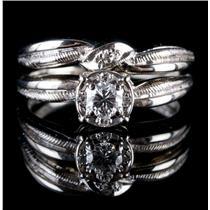 Vintage 1960's 14k White Gold Diamond Engagement / Wedding Ring Set .27ctw
