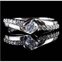 14k White Gold Round Cut Bar Set Diamond Engagement Ring .51ctw