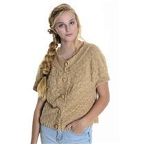 Sz L Charlotte Tarantola Tan Cap Sleeve Sweater w/Optional Faux Fur Collar 60399