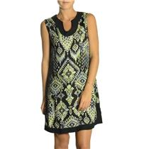 S NWT Margarita Sleeveless Geometric Green Black Scoop Neck Print Shift Dress