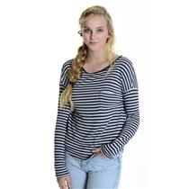 M Vince Navy & Gray Thin Striped Long Sleeve Rayon Nylon Blend Top V122581651