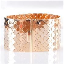 "Vintage 1960's 18k Yellow Gold Wide ""Fish Scale"" Bracelet 130.8g 7.5"" Length"