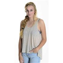 L Theory Sheer Cream Sleeveless Top w/Navy Polka Dots Modal Wool Blend A1026519