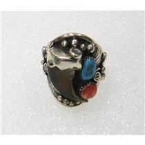 SOUTHWEST STERLING SILVER FAUX CLAW TURQUOISE AND CORAL RING SIZE 10 3/4 N612-N