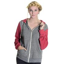 M Alternative Earth Gray/Red Colorblock Long Sleeve Zip Front Hoodie Sweatshirt