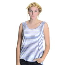 Sz L Whetherly White/ Blue Striped Linen Cotton Blend Scoop Neck Casual Tank Top