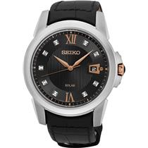 Seiko Mens SNE427 Mens Solar Dress Watch w/9 Diamond Dial Blk Leather Deploy Bkl