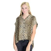 M Twelfth Street By Cynthia Vincent Leopard Oversized Silky Button Up Shirt