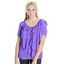 M NWT Authentic Fifteen-Twenty Purple V-Neck Silk Chiffon Ruffle Top Blouse