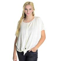 M Fifteen-Twenty Ivory Embroidered Lace Back Tie Front Button Down Jersey Blouse
