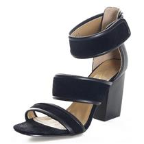 8 Report Signature 'Pammy' Black Leather Open Toe hook and loop Strap Block Heel